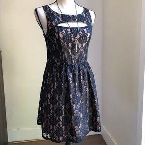 MissChevious Soft Lined Lace Skater Dress - Medium